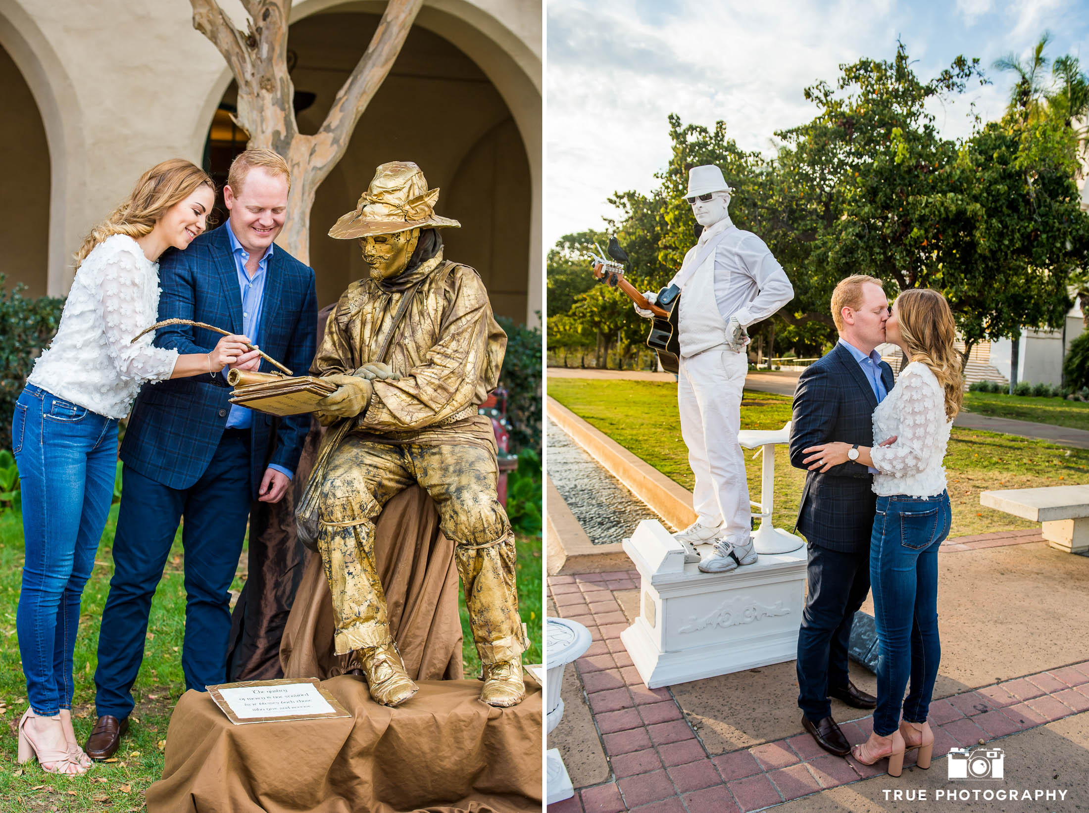 Engaged couple laugh and kiss while interacting with living statue street performers