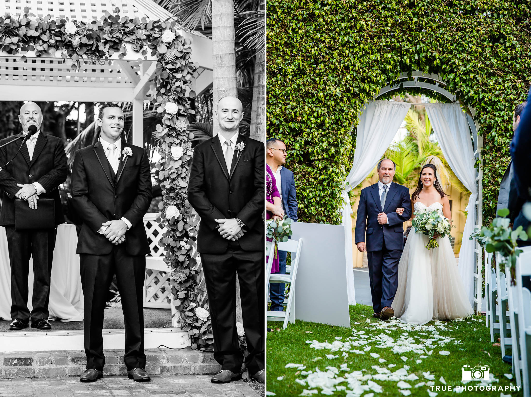 Groom smiles as he sees Bride walk down aisle in dress designed by Here Comes the Bride