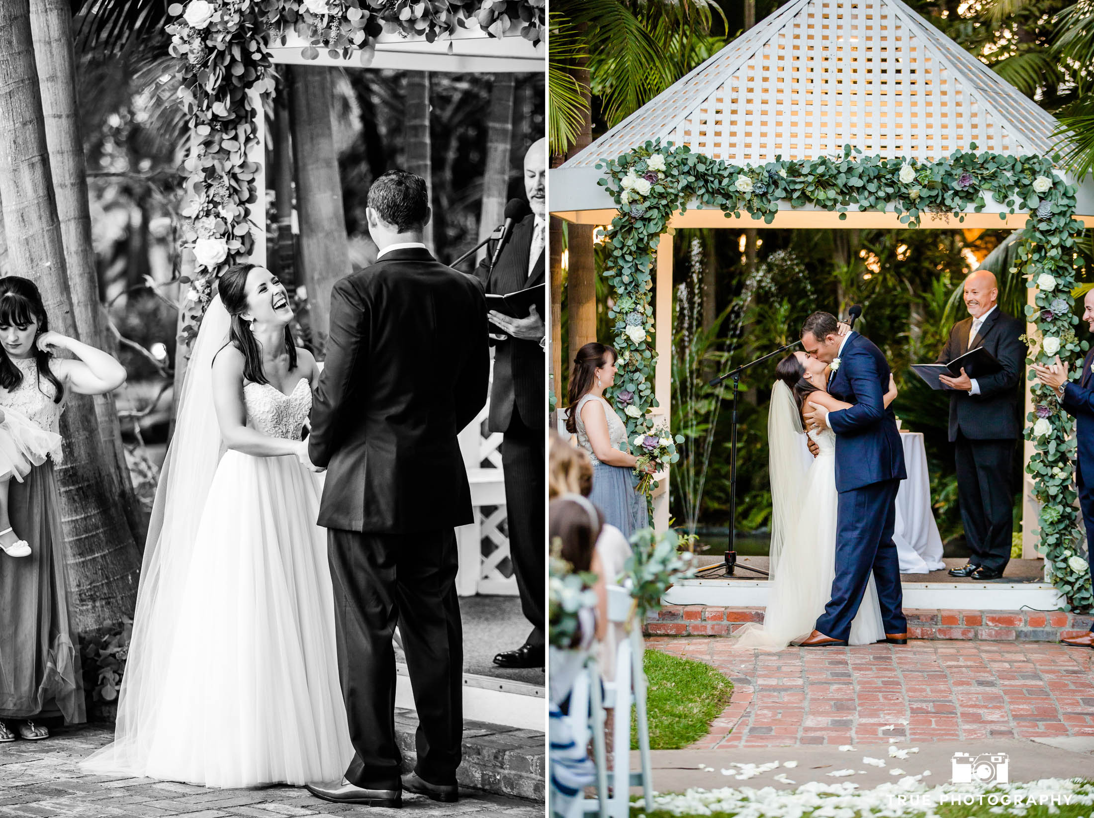 Bride and Groom share first kiss during wedding ceremony