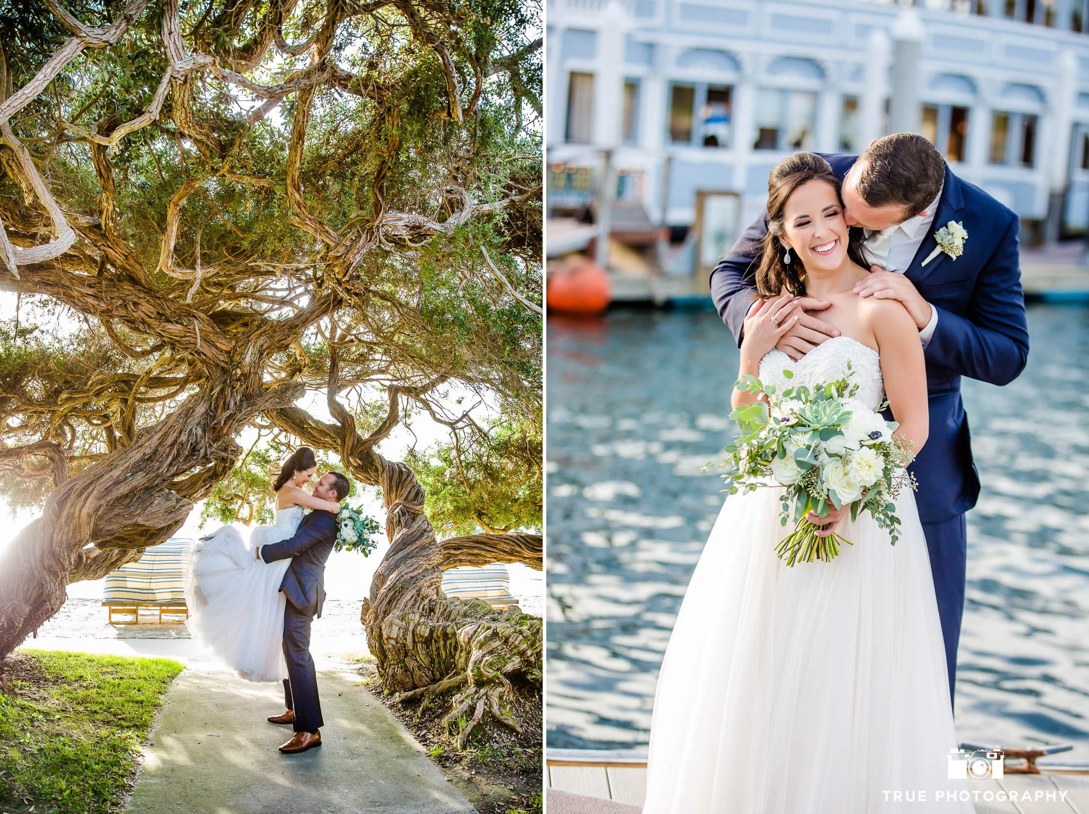 Groom wraps arms around Bride