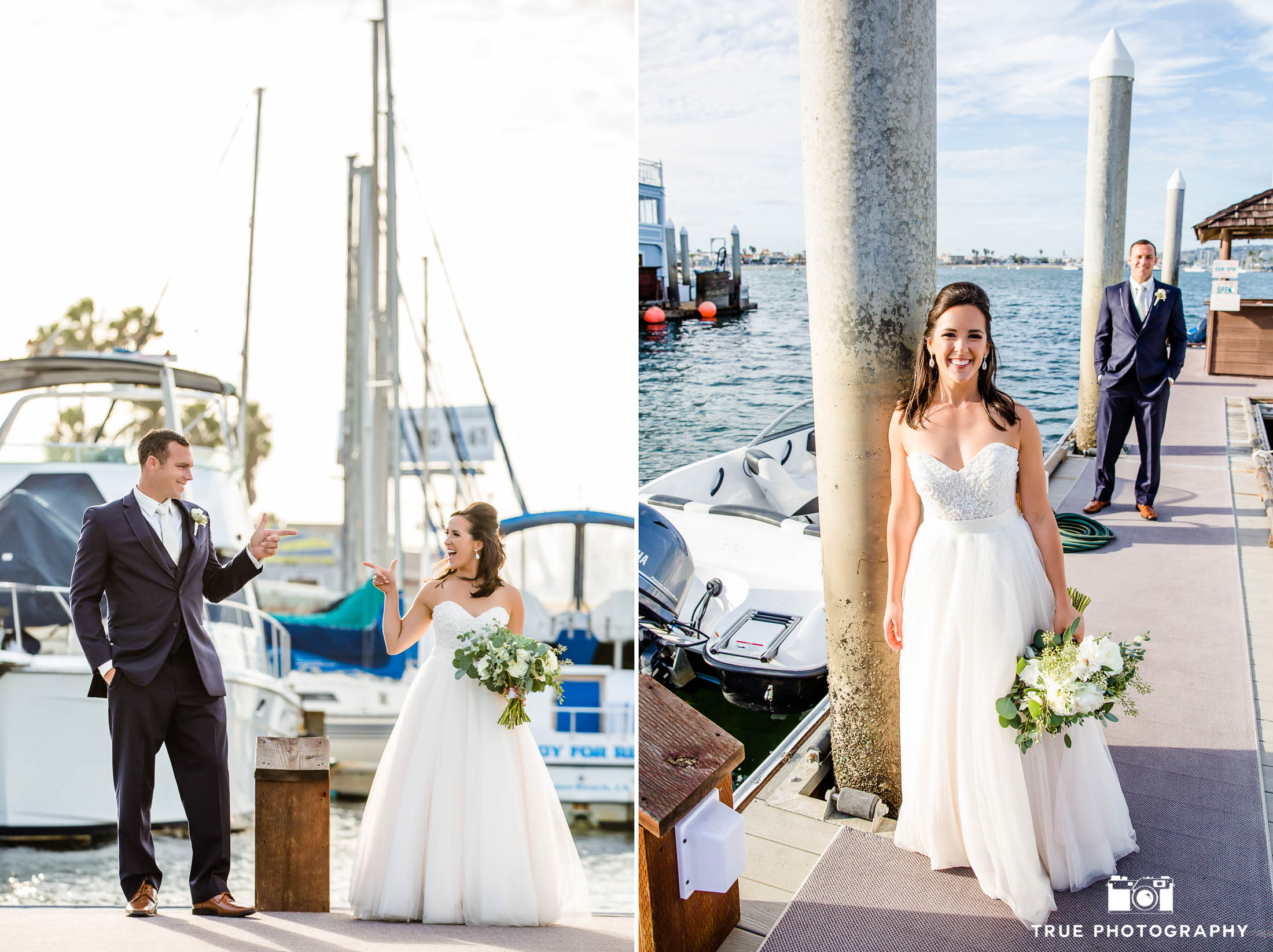 Bride and Groom have fun at marina in Bahia Resort