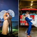 two couples kissing on their wedding day, in the rain at night and in front of a fire truck