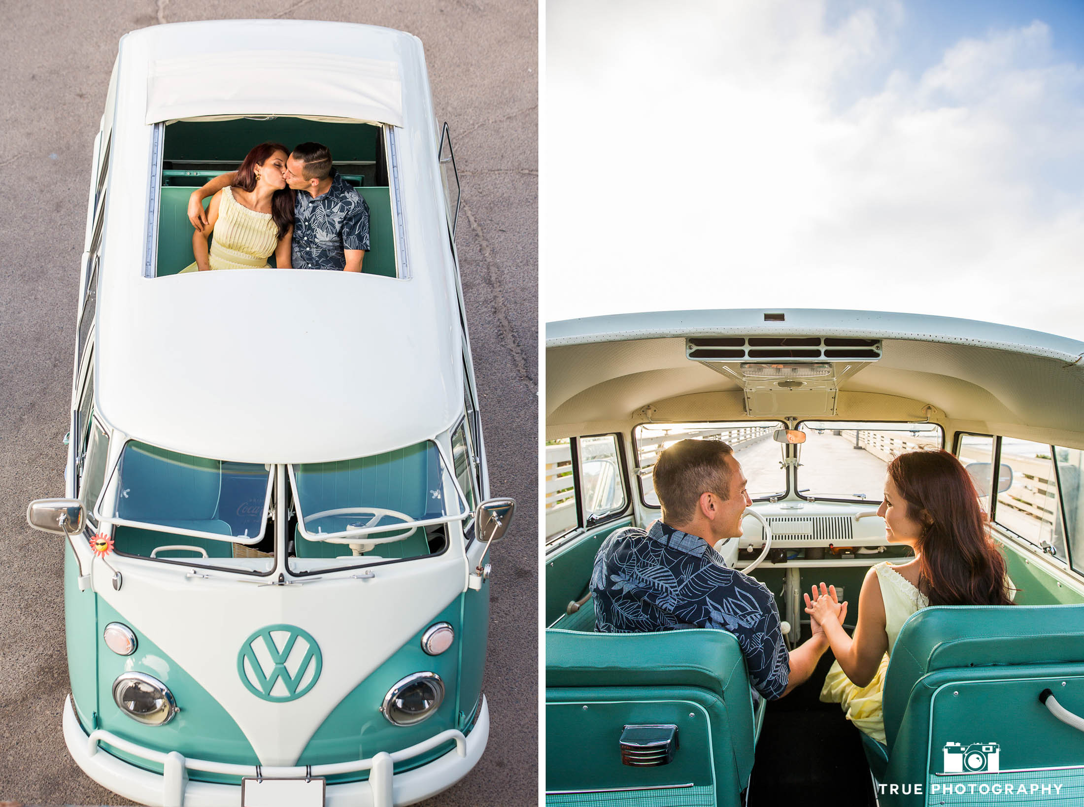 Two images of Engaged couple holding hands and kissing in Volkswagen bus during beach engagement session