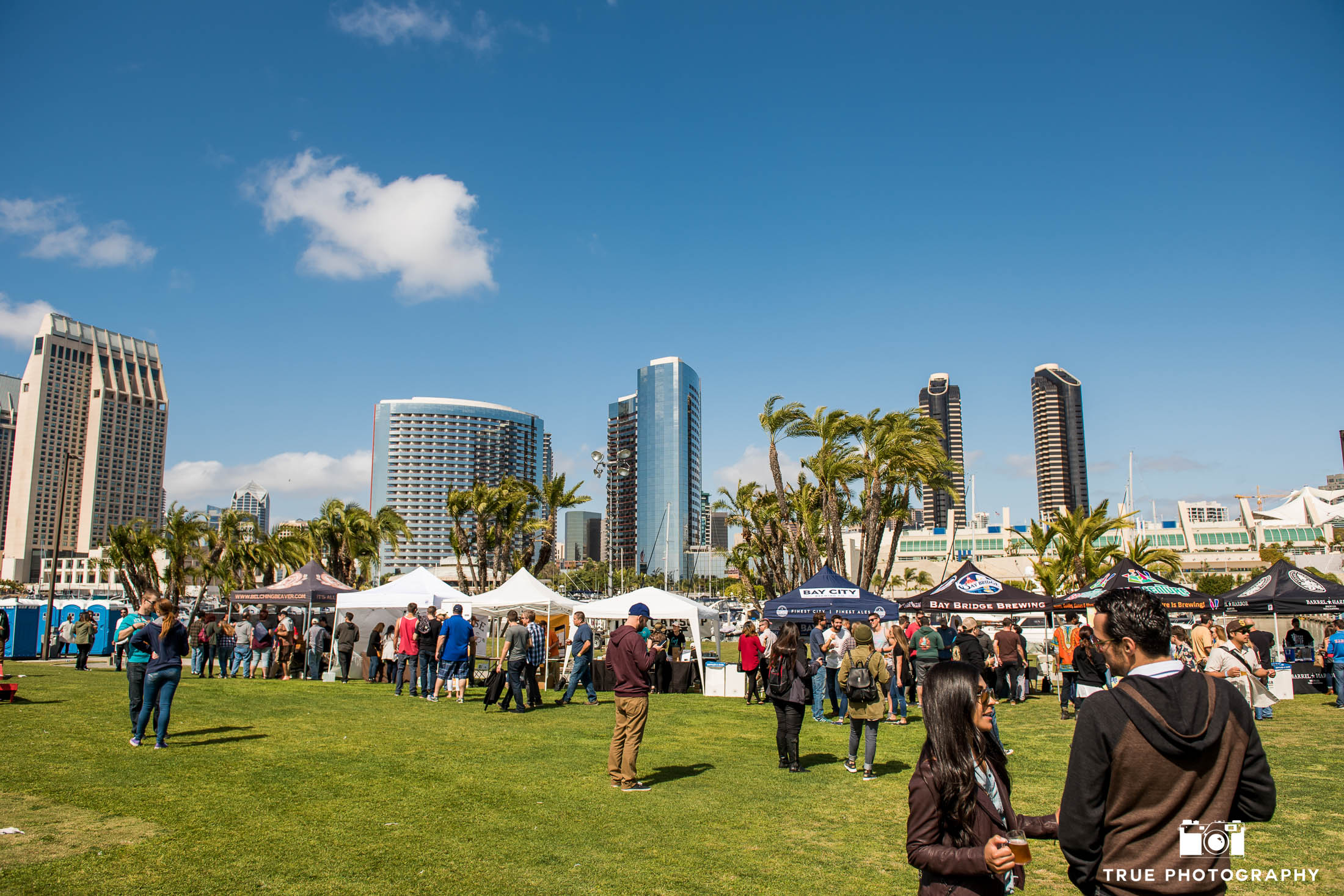 Overall view of eventgoers at local cancer charity event, Best Coast Beer Fest in Downtown San Diego