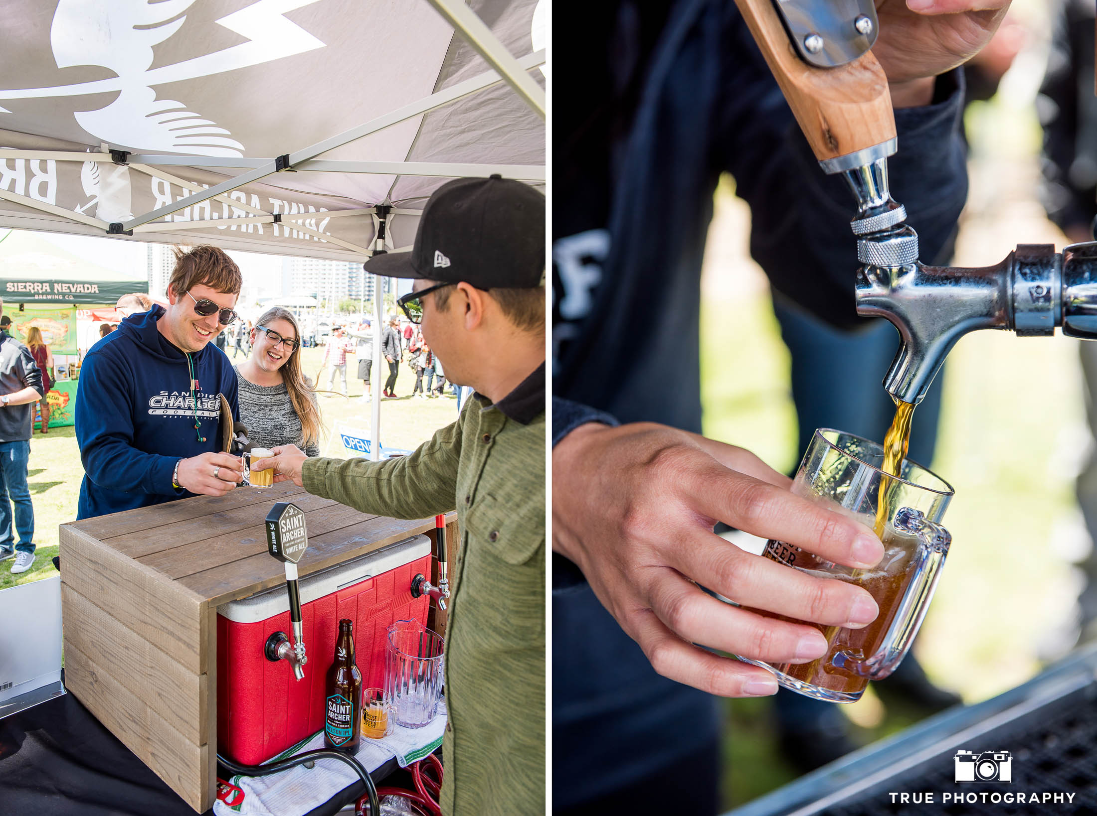 Event goers taste beer samples from St. Archer Brewery during Best Coast Beer Fest in Downtown San Diego, California