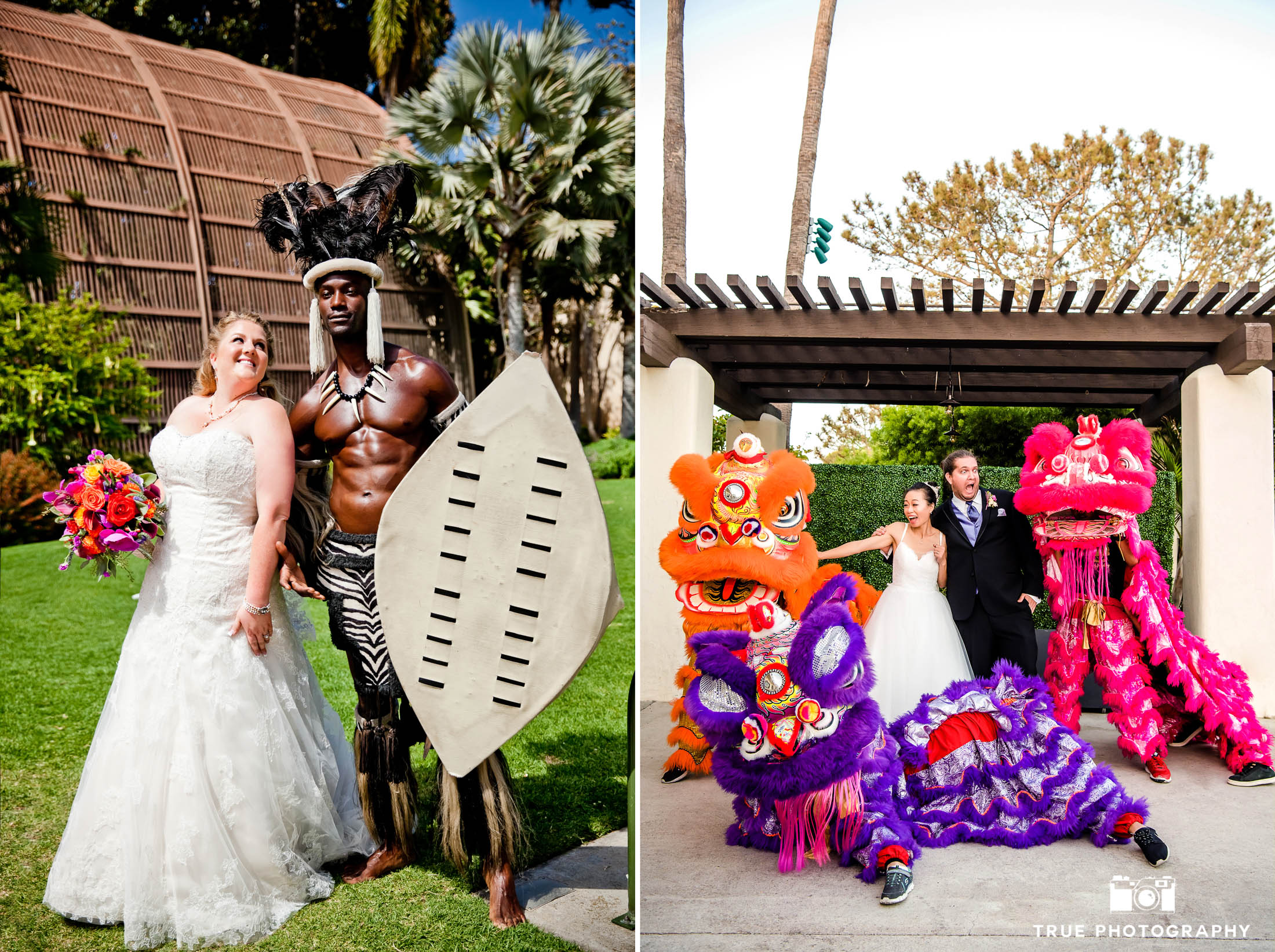 Bride and Groom make funny faces as they pose with local street performers