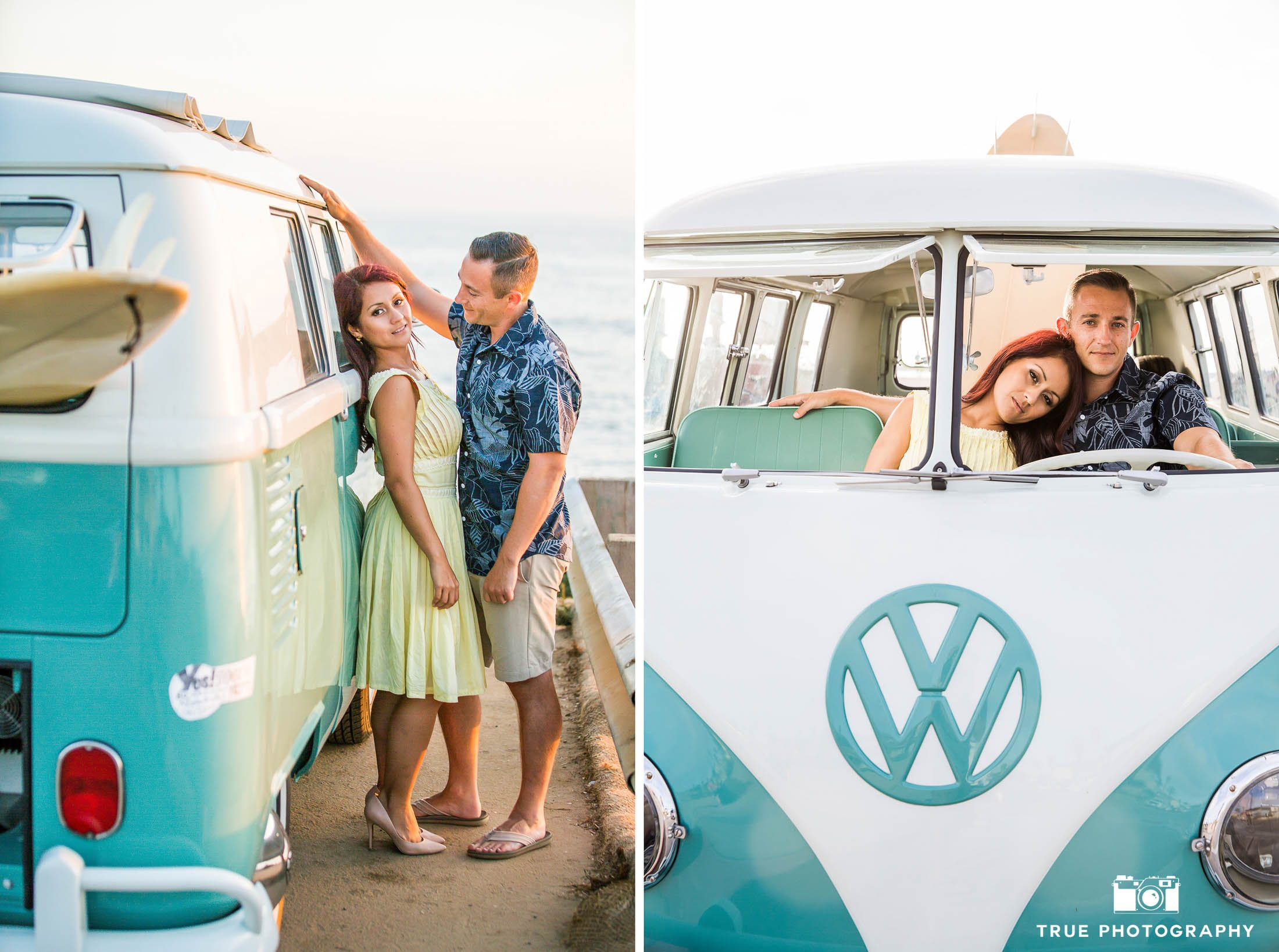 Two images of engaged couple leaning against and sitting in vintage Volkswagen bus on beach