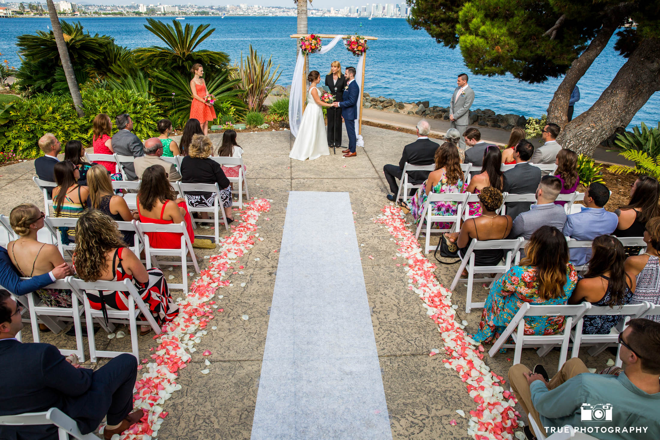 Colorful wedding at San Diego harbor