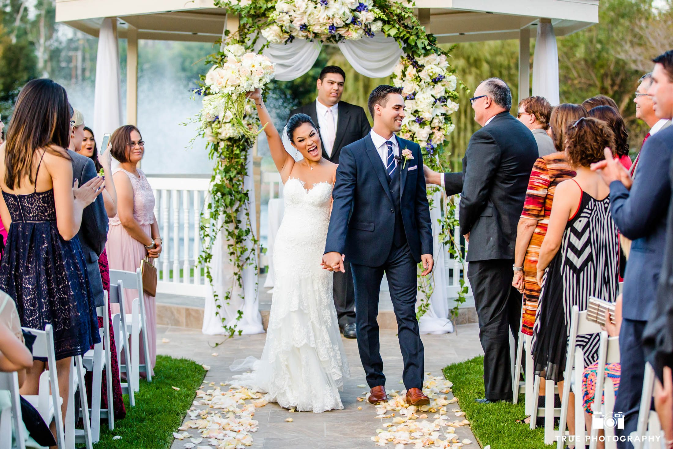 Bride and groom celebrate officially husband and wife