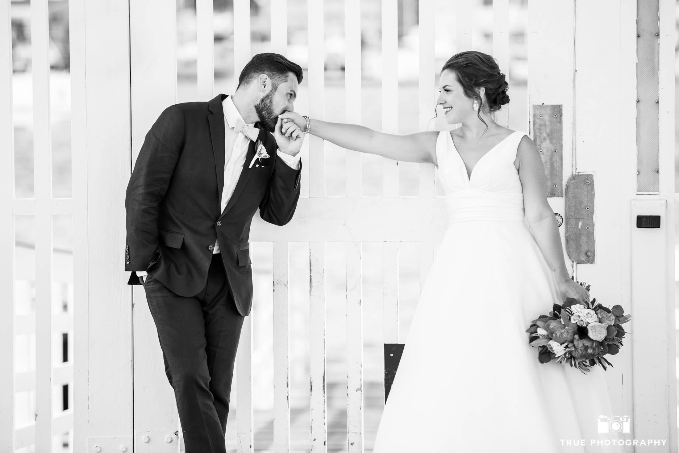 Romantic wedding photo on a pier