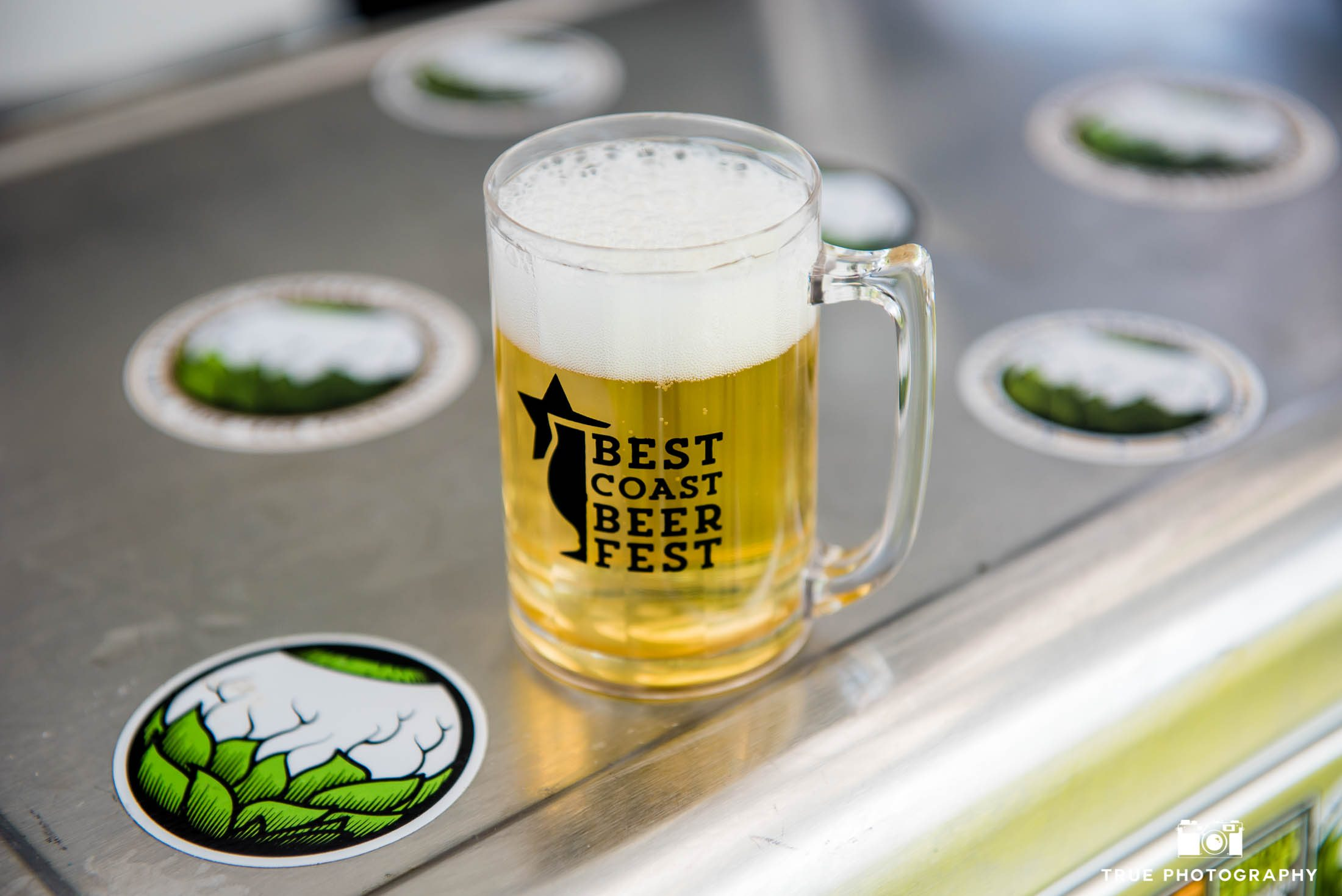 Best Coast Beer Fest Taster Glass filled with beer