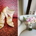 Shoe and floral detail wedding photo