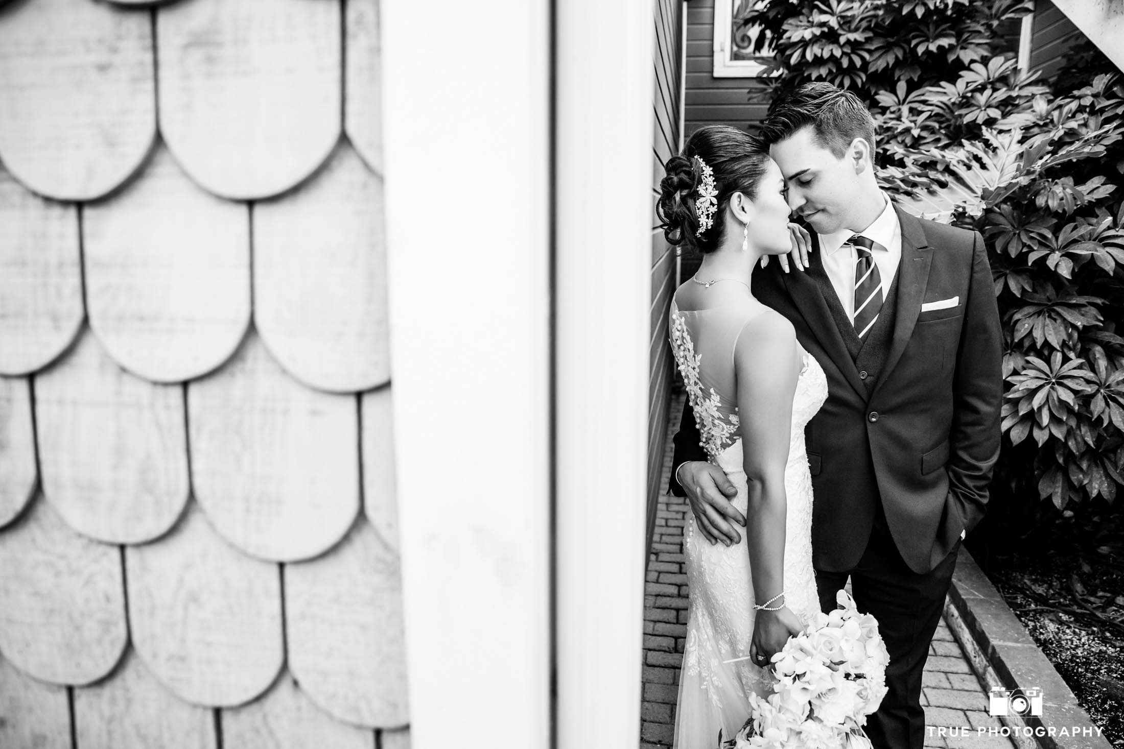 Bride and groom sharing a tender moment