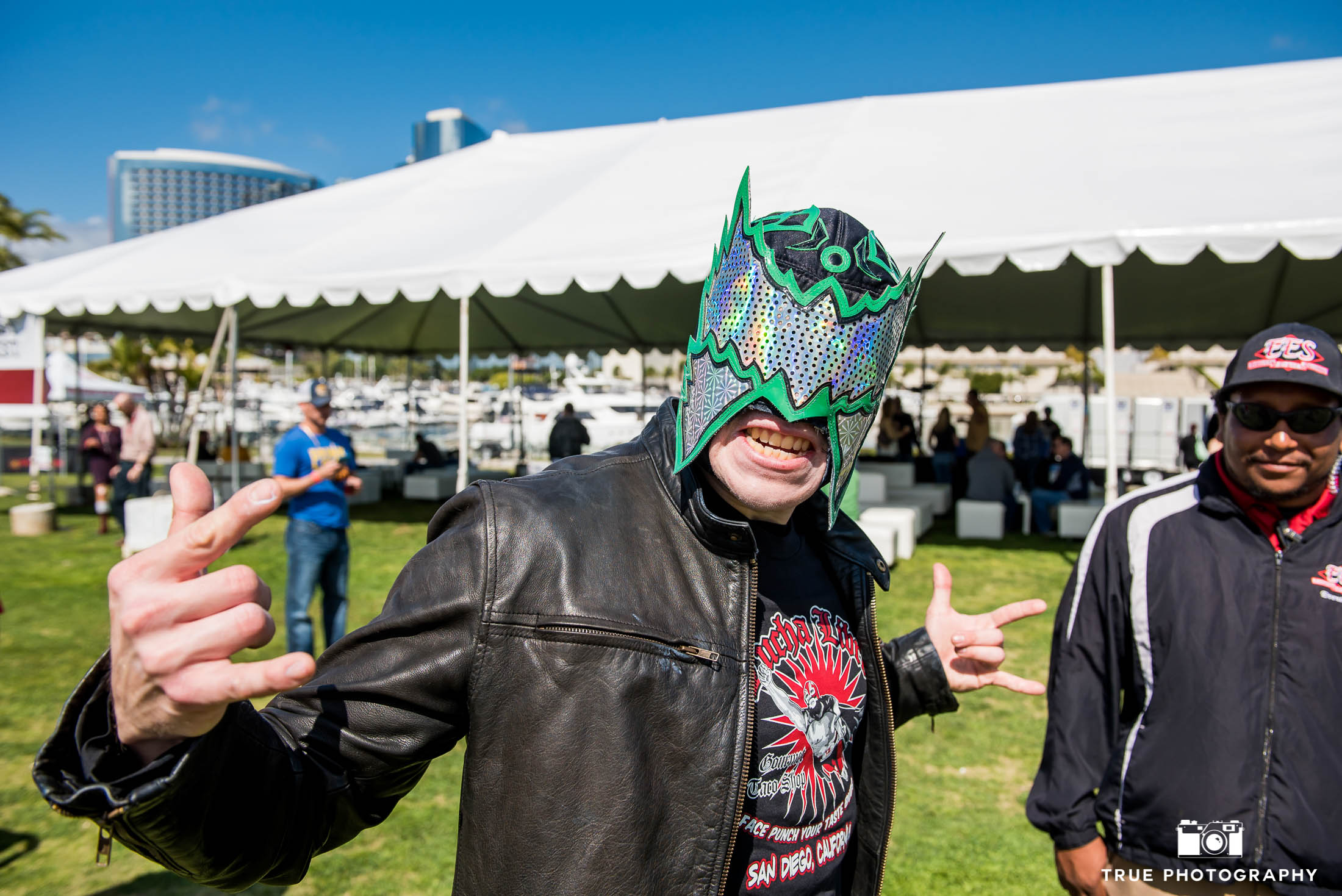 Event goer with wrestling mask at Best Coast Beer Fest