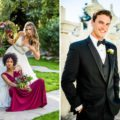 Portraits of handsome groom and beautiful bride