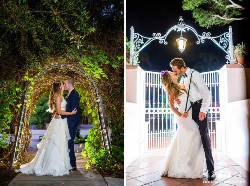 Backlit night photos of bride and groom on wedding day