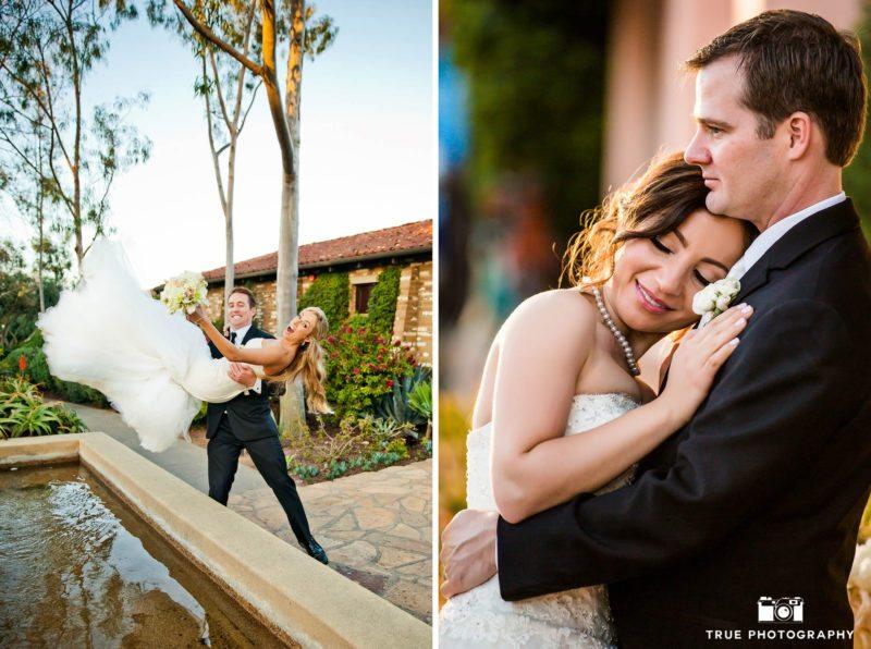 Candid photos of wedding couple enjoying fun and romantic moments on wedding day