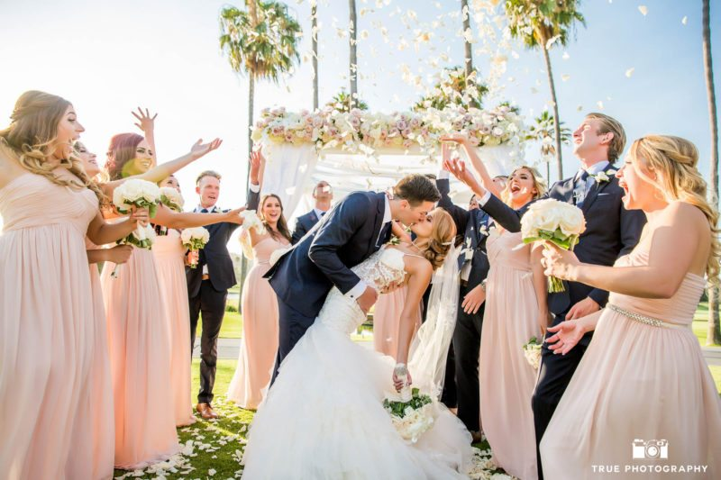 Bride and Groom re-enact First Kiss after Wedding Ceremony