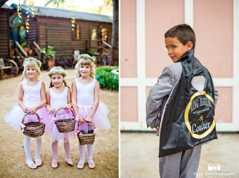Cute flowergirls and ringbearer at wedding