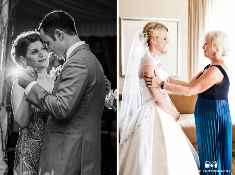 Bride and groom share a tender moment with mom