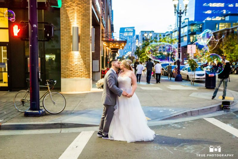 Bride and groom in downtown San Diego