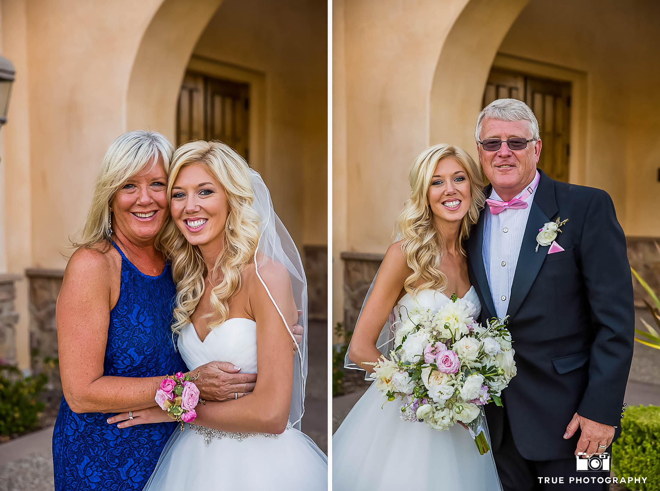 A Bride Poses With Her Mother And Father. -