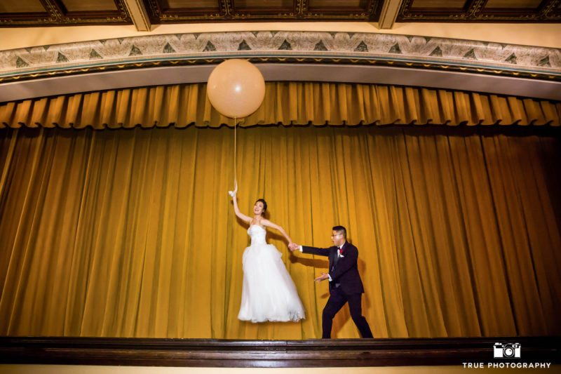 Creative action shots of bride and a balloon.