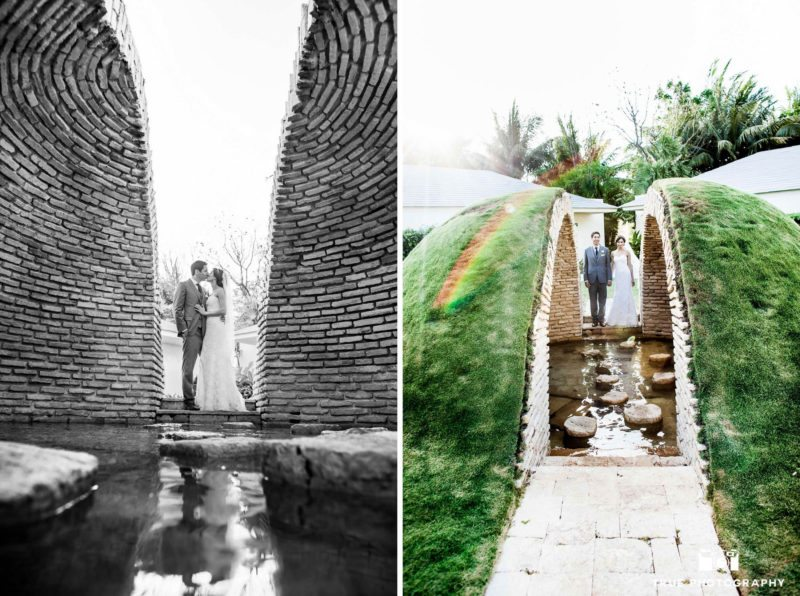 Newly weds explore unique landscaping in Mexico.