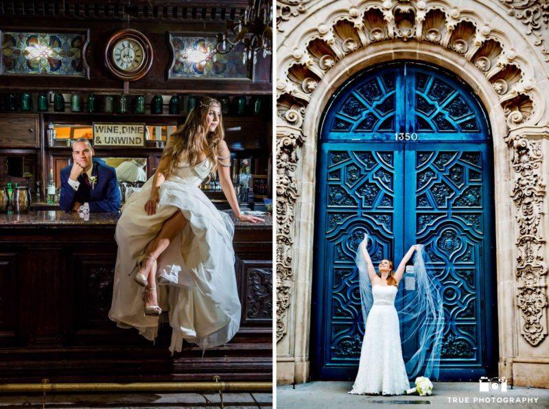 A bride stands in front of a big, beautiful, blue door.