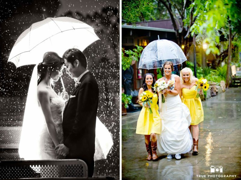 Bridesmaids escort bride through the rain.