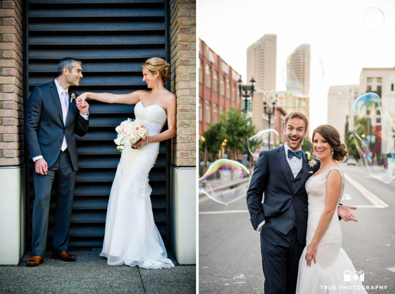 Portrait of bride and groom on their wedding day in downtown san diego