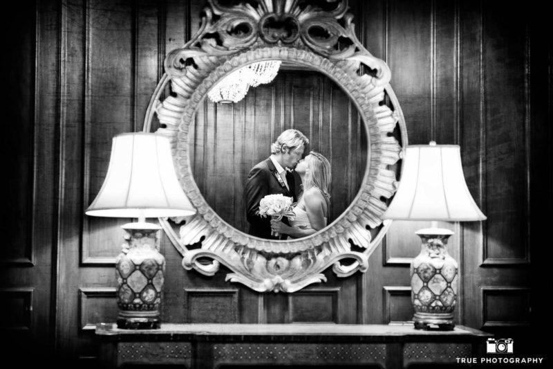 Mirrored reflection of newlyweds.