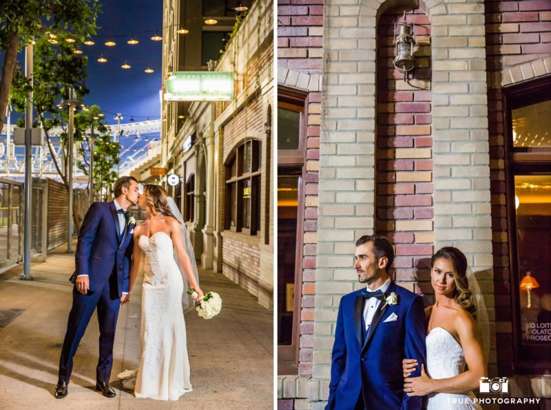 Stylized night portraits of wedding couple at Petco Park in San Diego