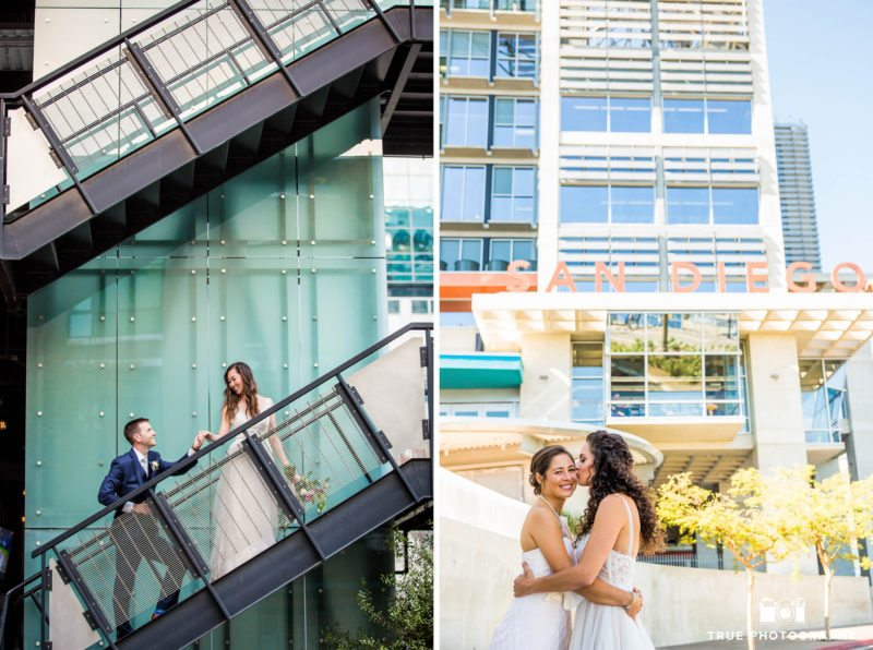 Wedding couples with modern architecture in downtown san diego