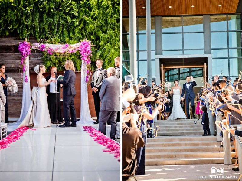 Guest with ribbons during a ceremony exit