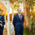 Groom's candid reaction to seeing bride at wedding ceremony