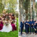 Funny group photo of bridesmaids and groomsmen