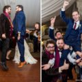 Guests dance and lift groom during open dance at wedding reception