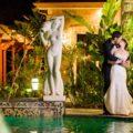 elegant wedding couple during night shot temecula