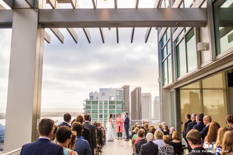 Outdoor roof ceremony at the Ultimate Skybox