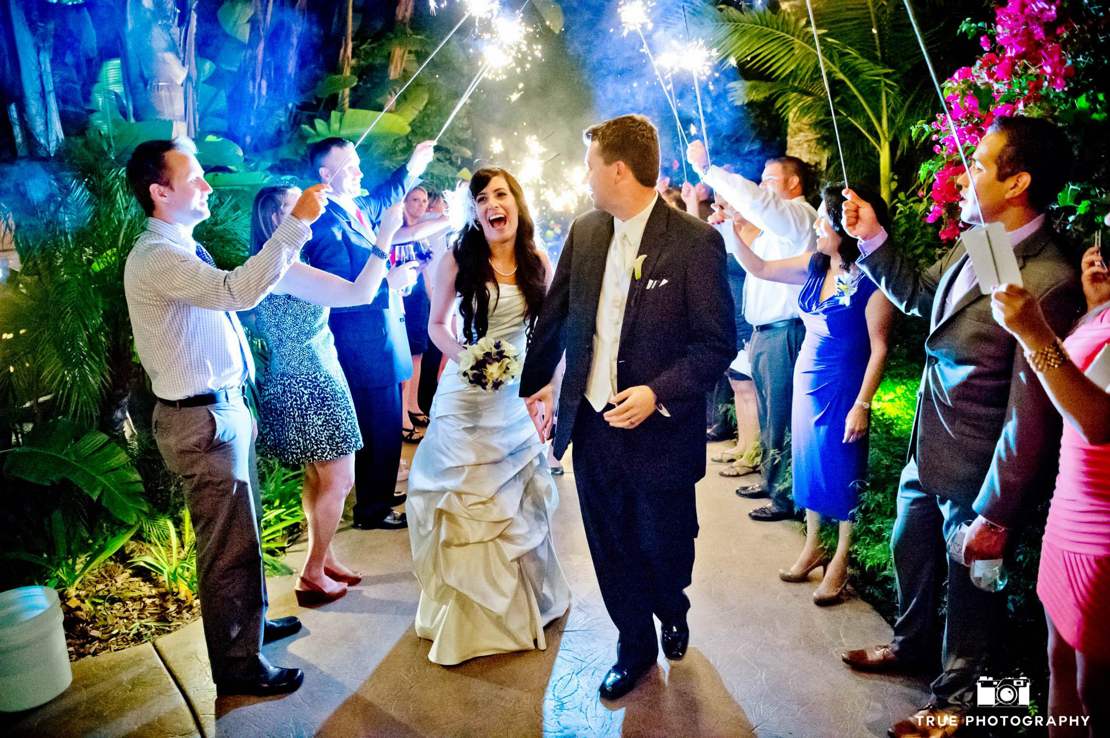 Entering a reception with sparkler entrance.