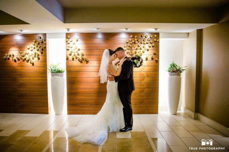 Newlyweds touch foreheads