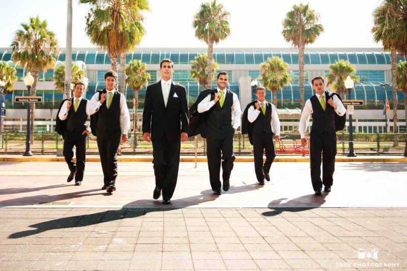A group of Groomsmen downtown