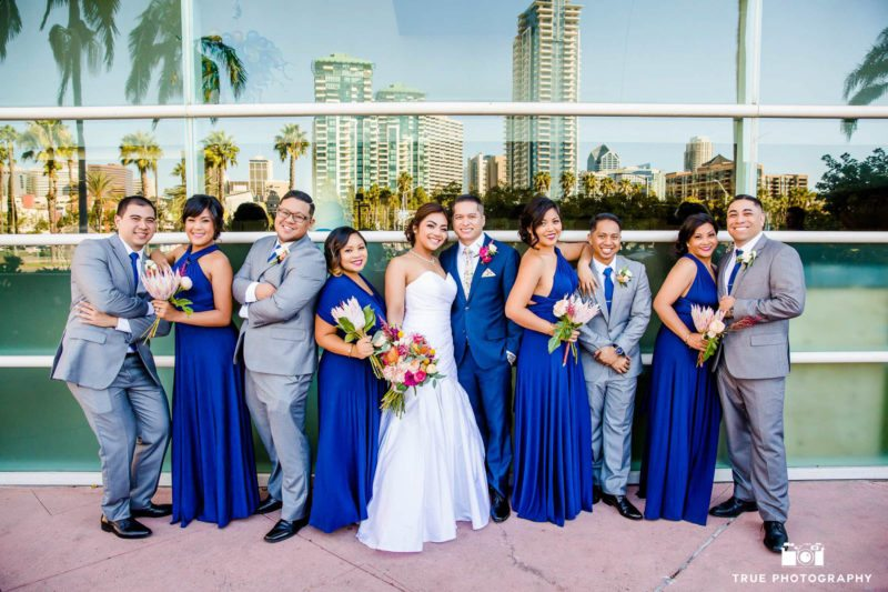 Bridal party wearing cobalt dress