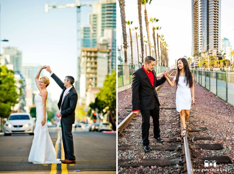 Engagement pictures on train tracks.
