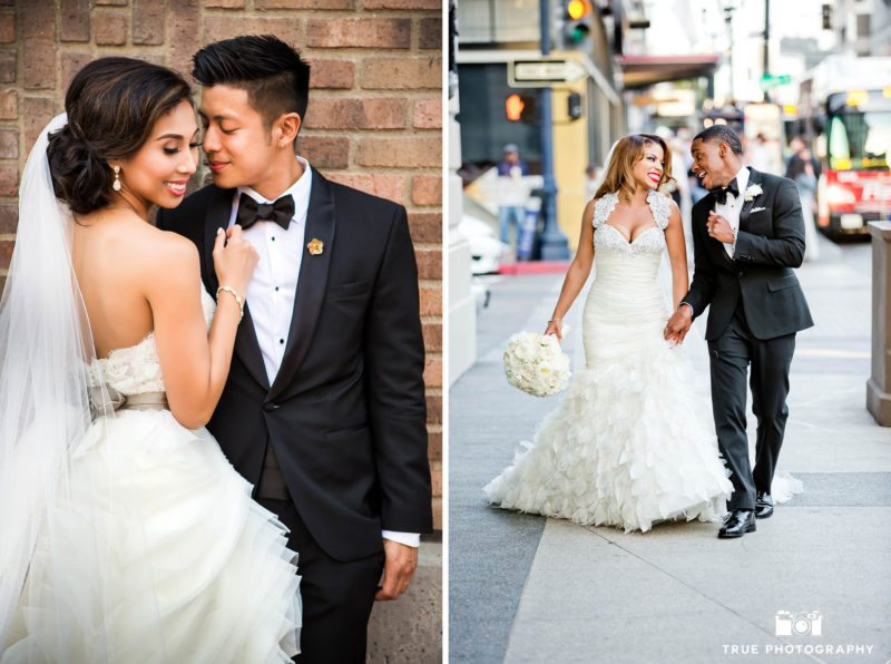 Candid portrait of wedding couples walking down streets of Downtown San Diego
