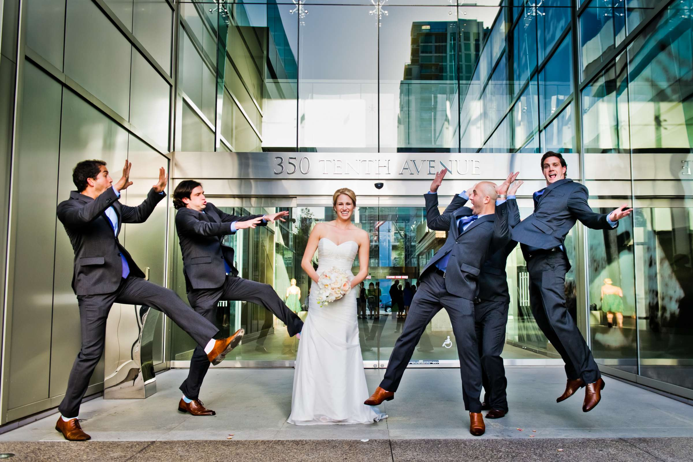 Funny moment, Urban Downtown at Ultimate Skybox Wedding, Chelsea and Frank Wedding Photo #49 by True Photography