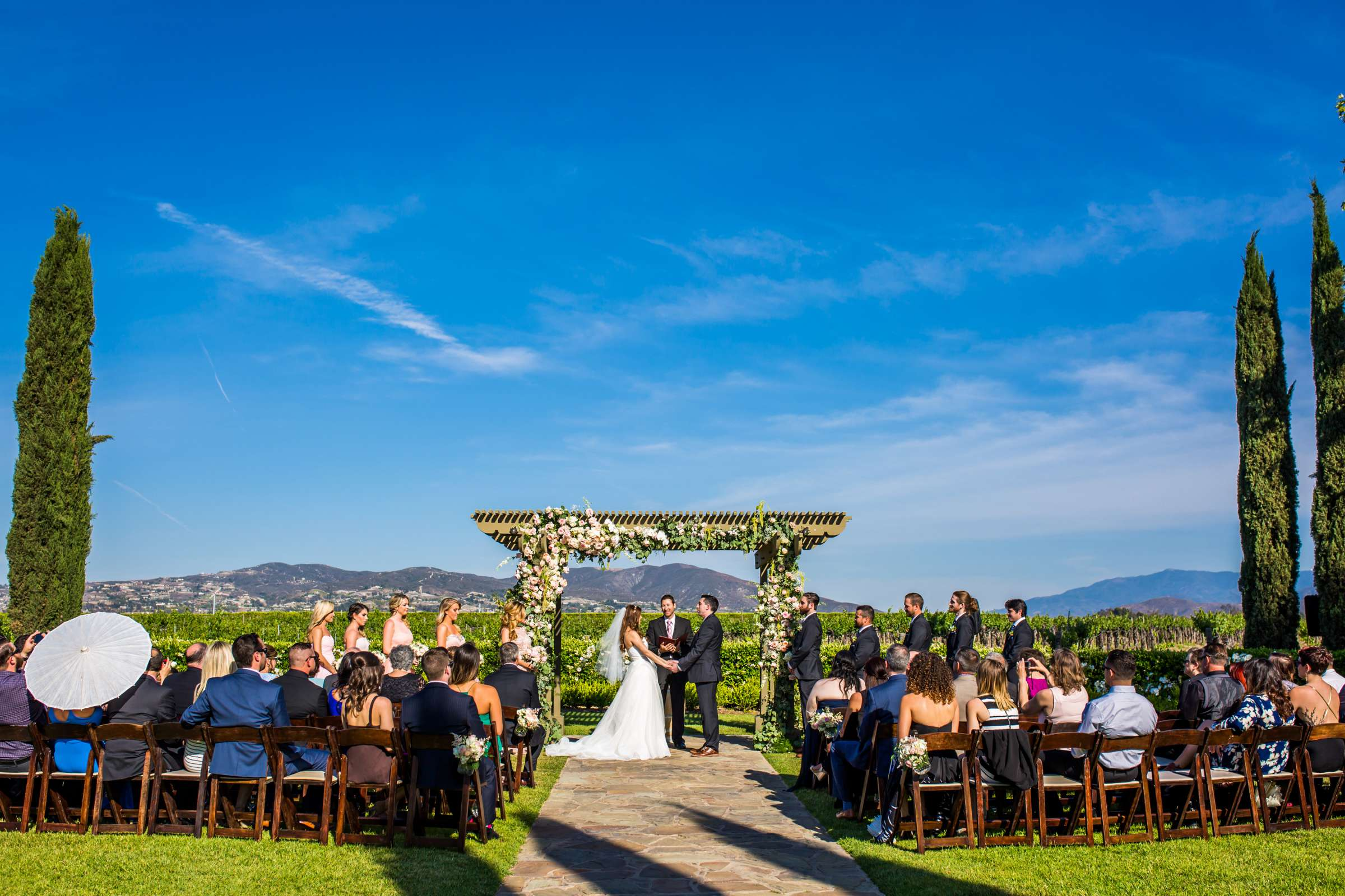 Ponte Estate Winery Wedding coordinated by Seven Stems Floral Design & Events, Jennifer and Justin Wedding Photo #70 by True Photography