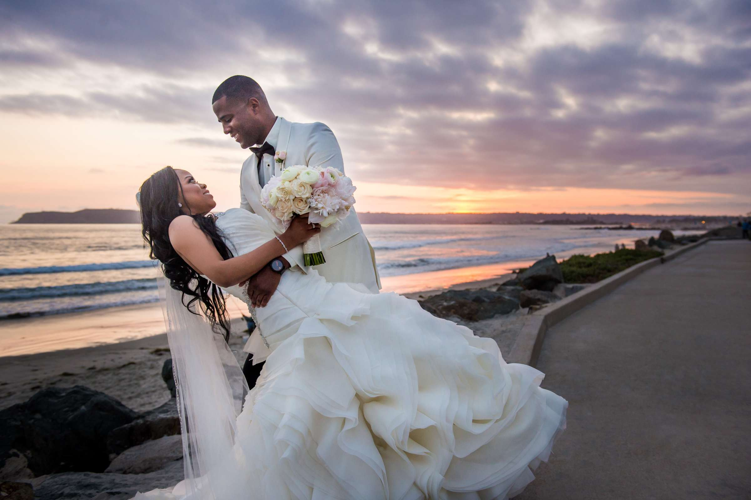 Sunset at Coronado Community Center Wedding coordinated by First Comes Love Weddings & Events, Nikia and Charles Wedding Photo #10 by True Photography