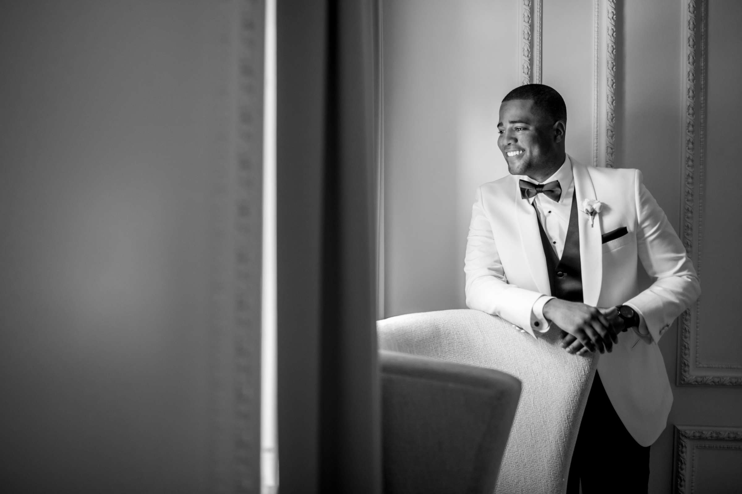 Classical moment, Groom, Black and White photo at Coronado Community Center Wedding coordinated by First Comes Love Weddings & Events, Nikia and Charles Wedding Photo #17 by True Photography